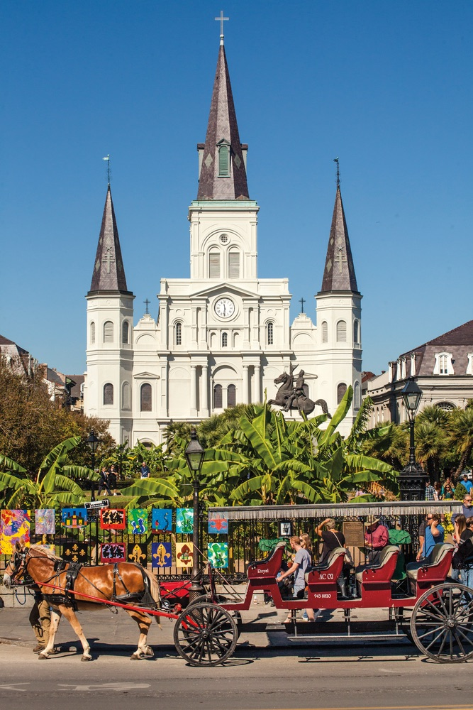 Jackson Square in New Orleans with horse and buggy.