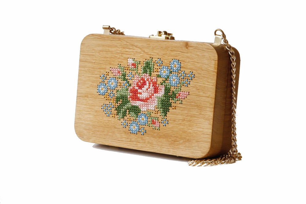 Rose Stitched Oak Wood Purse