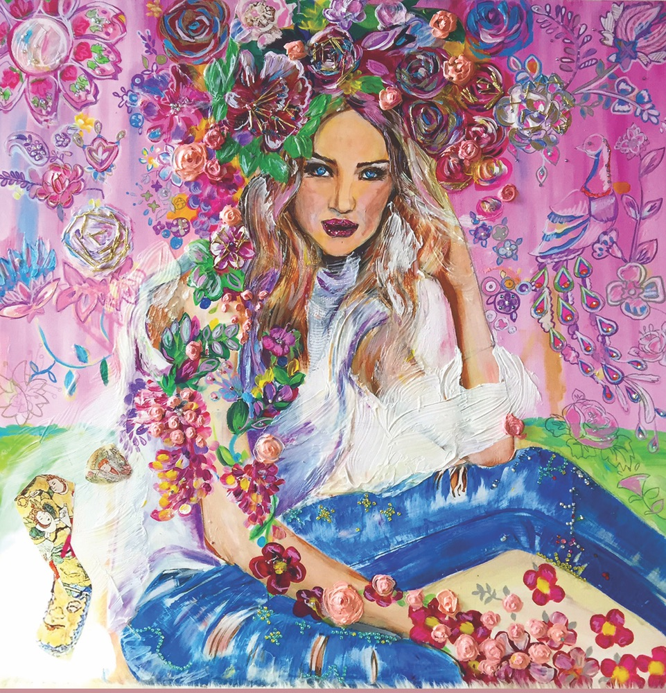 Denim Flower Girl 36″ x 36″, painting by Olesya Ianovitch
