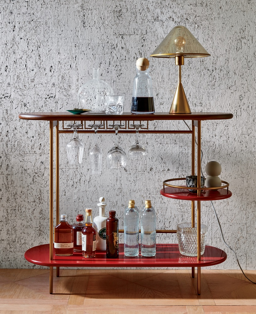 Beautiful red tiered bar console west elm cest la vie storyteller issue 2017 september
