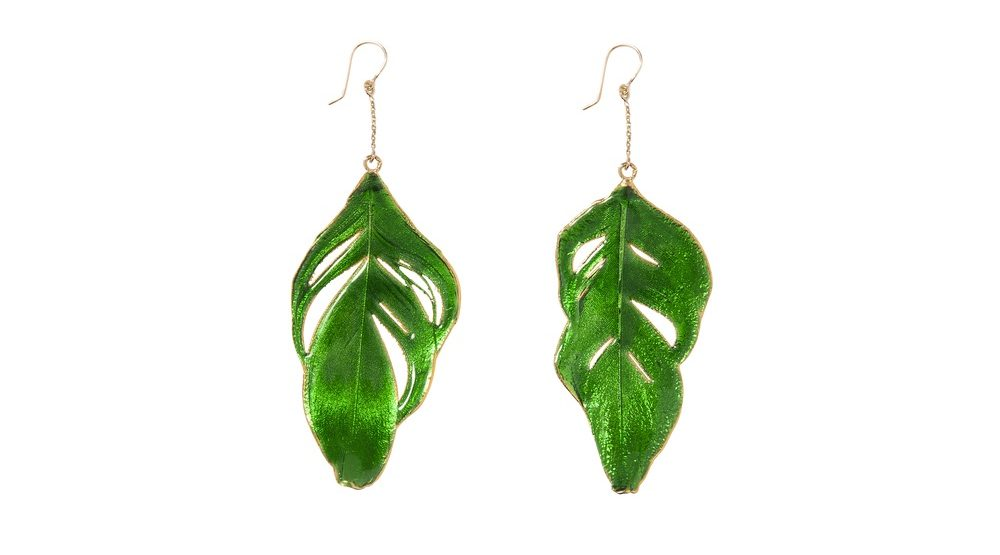 Aurelie Bidermann Lacquered Swan Feather Earrings Beautiful Green earrings cest la vie storyteller