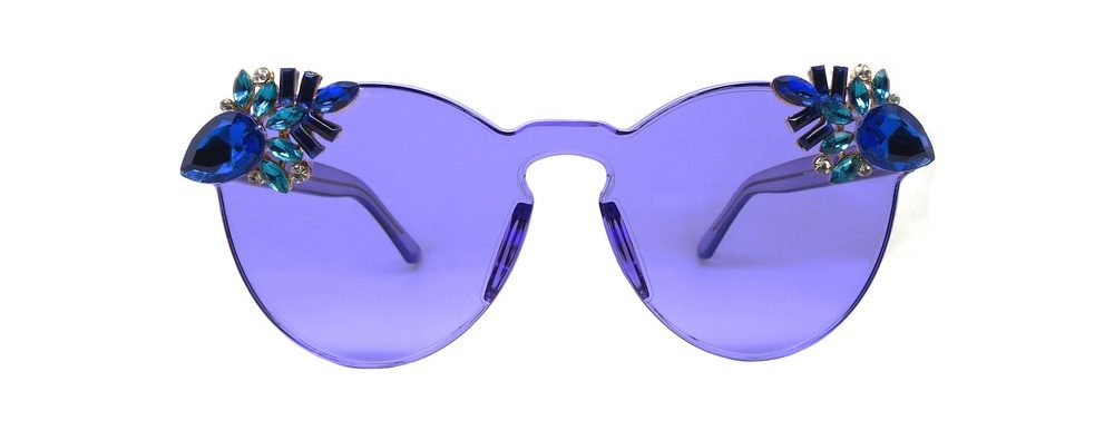 A Rock on a Lens punch sunglasses in blue cest la vie storyteller issue high fashion