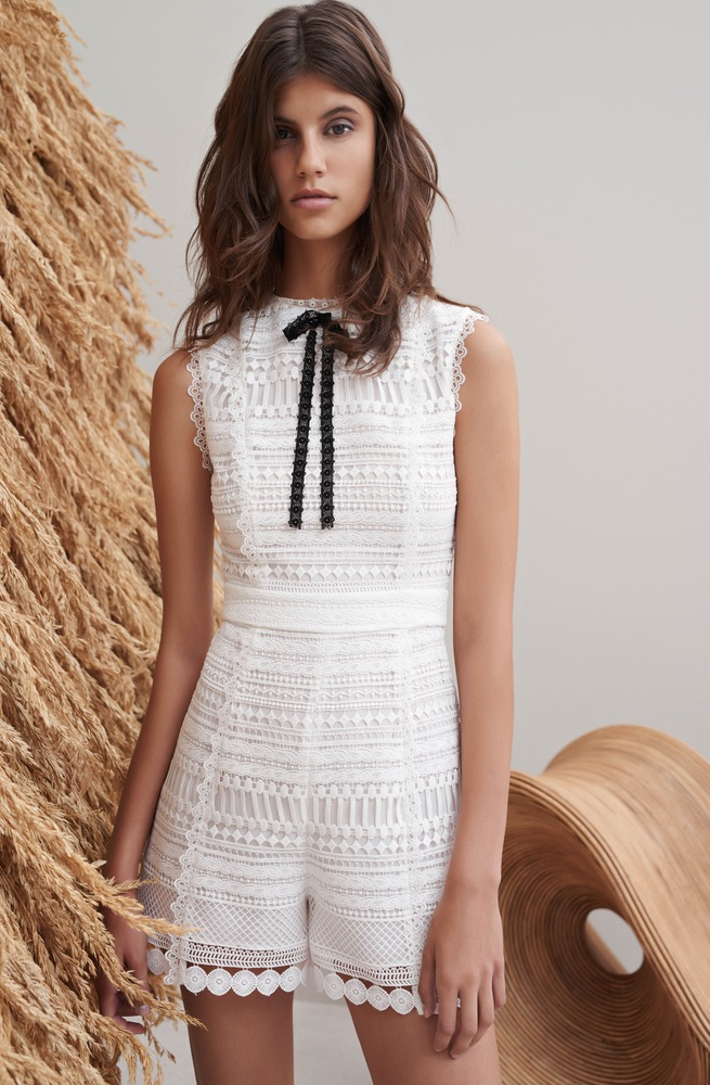 Alexis Syden bow-neck romper high fashion white romper cest la vie storyteller