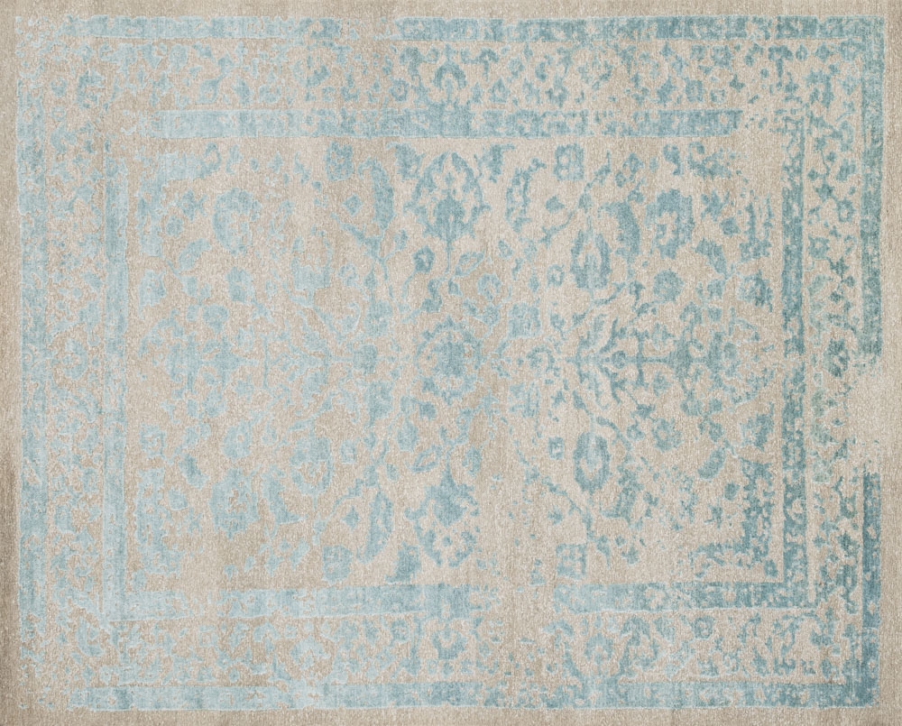 Hand-knotted distressed Indian rug in 100 percent hand-spun viscose from bamboo, available in sizes up to 9′6″ x 13′6″