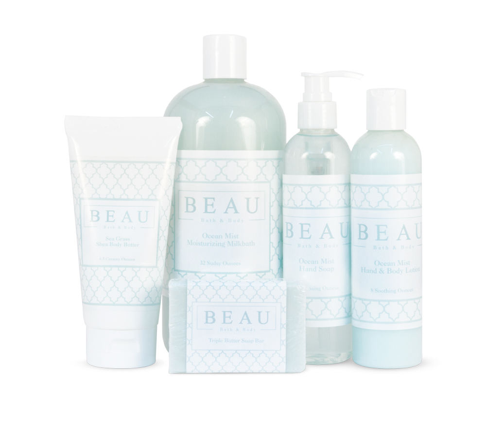 Beau Bath & Body collection of premium products in two signature scents: Ocean Mist and Sea Grass