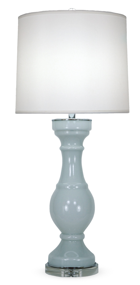Tall light-blue glass table lamp with acrylic base and white linen shade