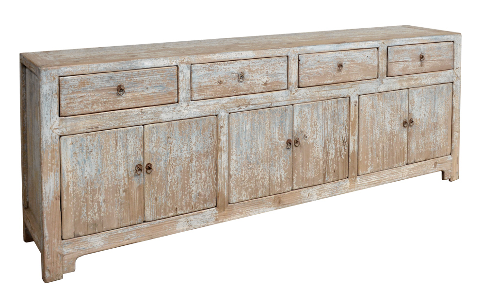 Reclaimed pine antique reproduction buffet with light-blue distressing