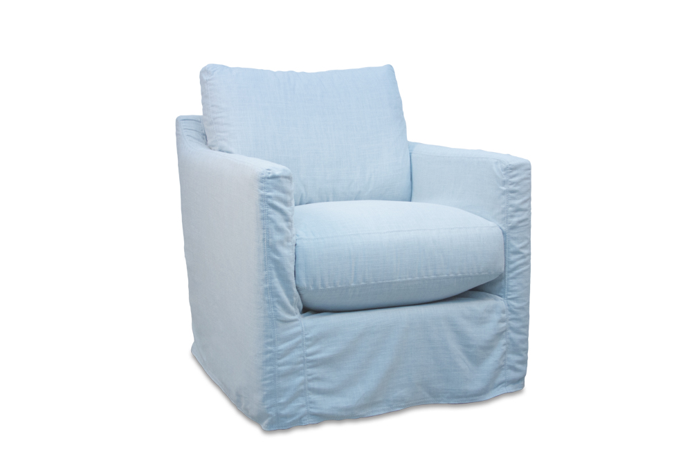 Best-selling swivel glider chair, slipcovered in ice-blue linen/cotton blend. More slipcover fabric options as well as upholstered and stationary options available starting at $995.