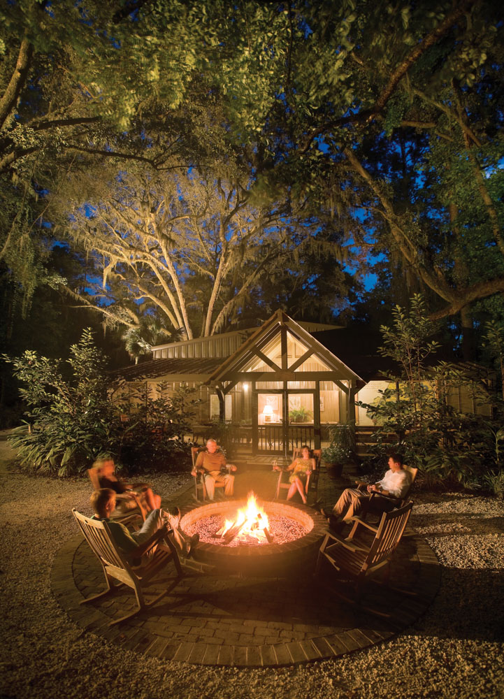 Bonfires under the stars are better when shared with family and friends outside the Old Shed on Hampton Island.