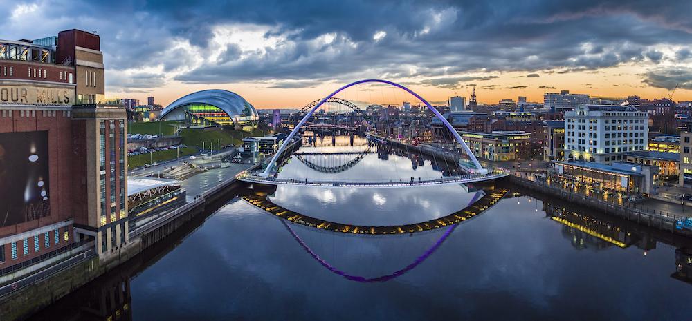 Gateshead Millenium Bridge at Newcastle and Gateshead England