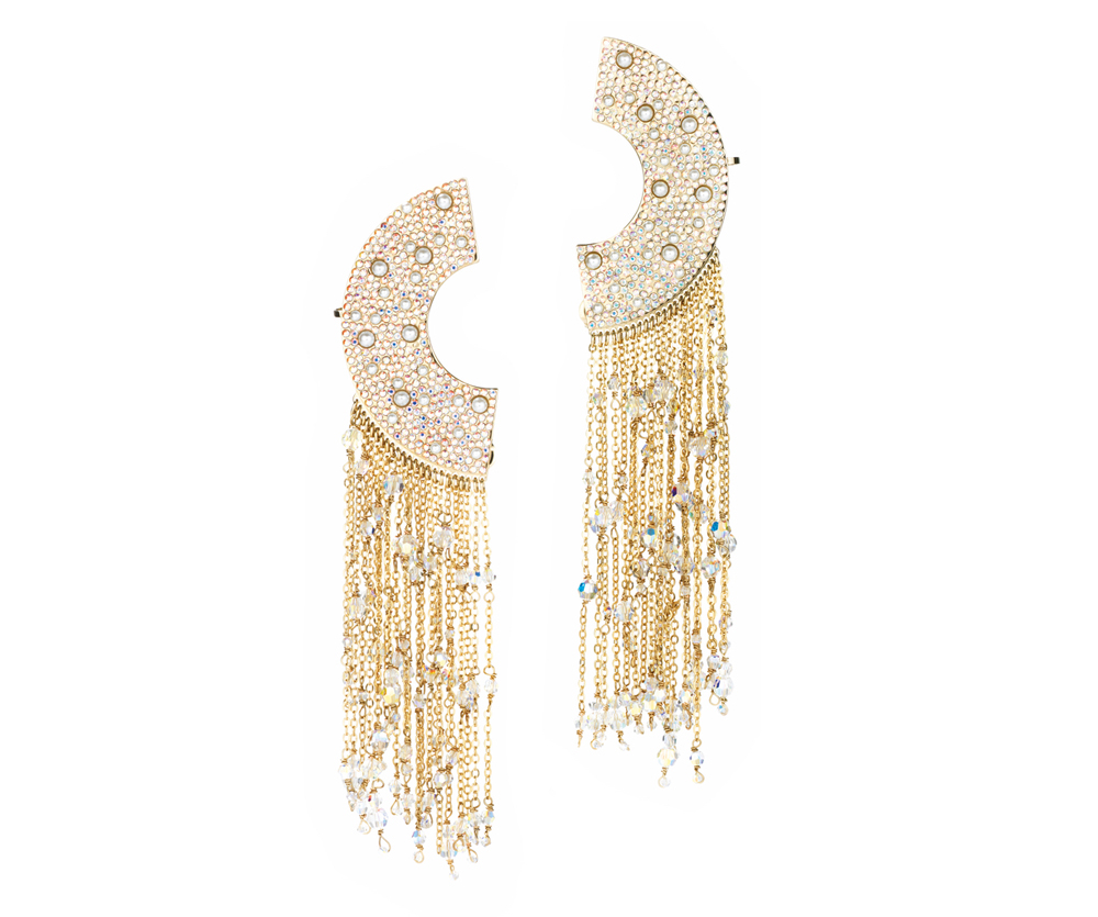 Eden Diodati Azu Earrings gorgeous gold chain earrings half circle shape cest la vie