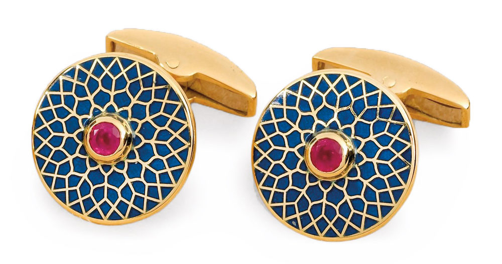 Big Ben Blue Cufflinks with Rubies Linked in C'est la VIE November 2017