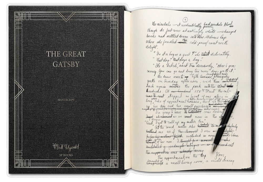 The Greatest of All Time The Great Gatsby by F. Scott Fitzgerald handwritten manuscript