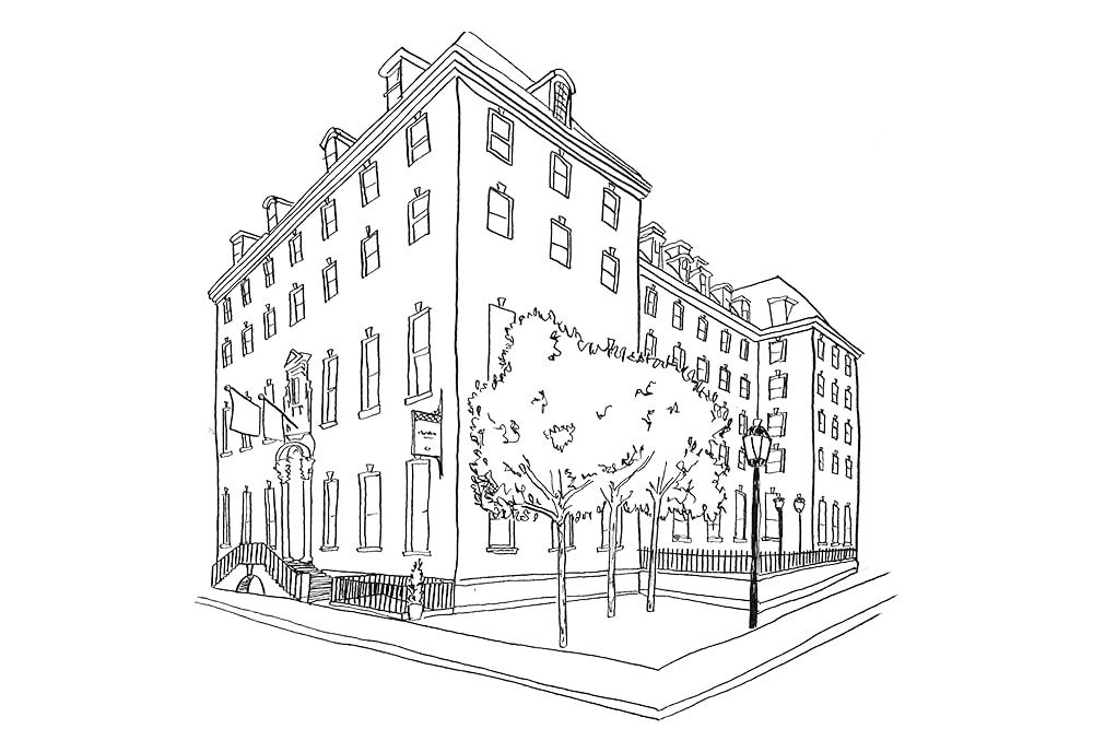 Illustration by Lucy Young of the Bloomsbury Hotel Villages of London 2017