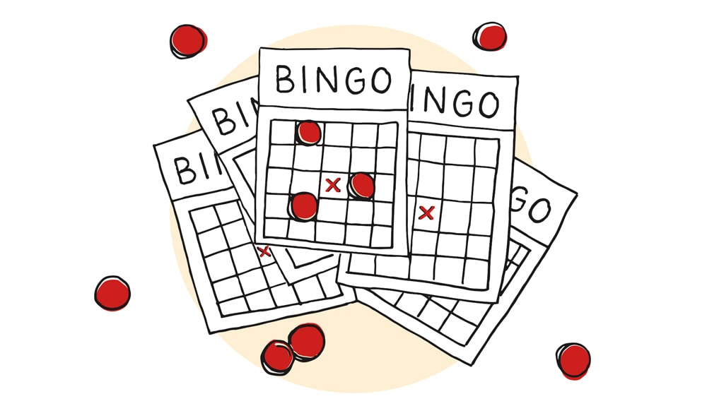 Bingo Cards and Bingo Chips illustration by Lucy Young The Deadliest Game on Earth by Greg Cayea