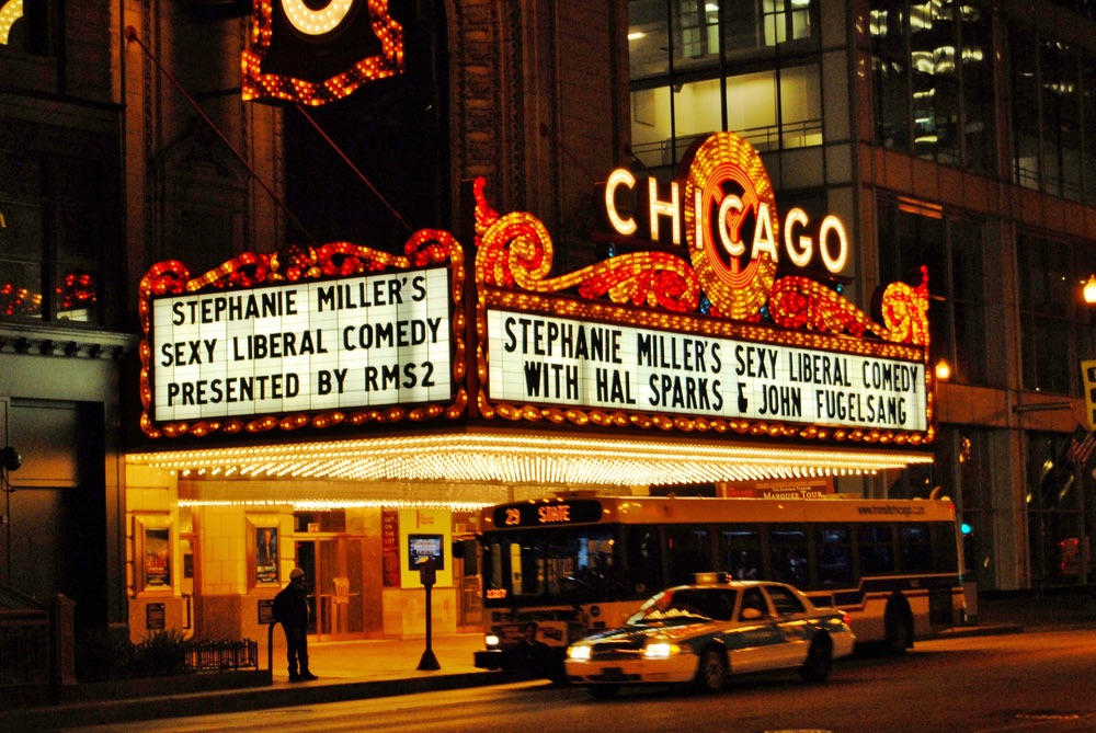 Famous Chicago Theater Sign Night in Chicago Illinois