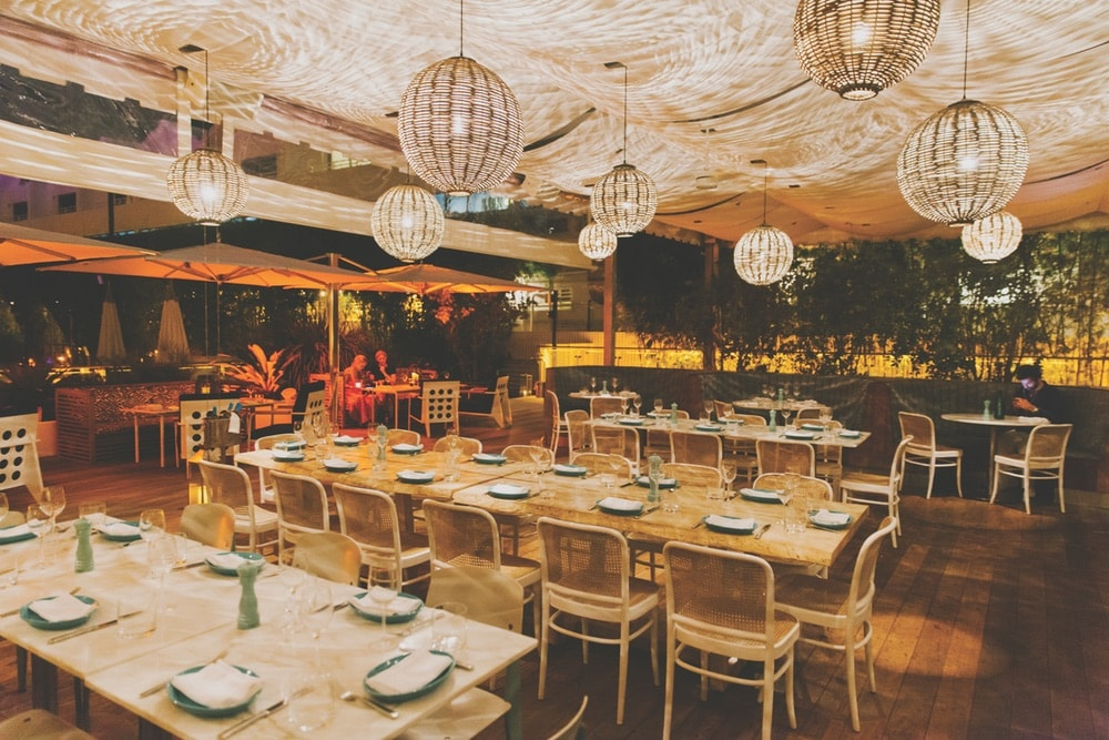 Another of Miami's must-visit restaurants is the Nautilus Cabana Club, with its midcentury style and Mediterranean-inspired cuisine. Photo courtesy of Nautilus Cabana Club