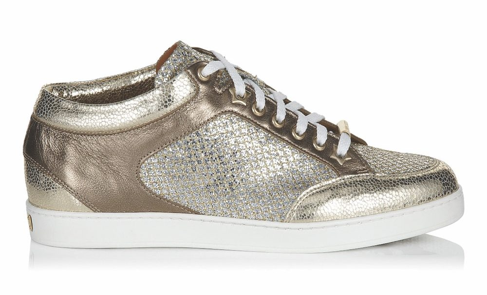 Jimmy Choo Miami Champagne Glitter Fabric and Metallic Nappa Sneakers VIE Magazine Destination Travel 2018 Cest la VIE