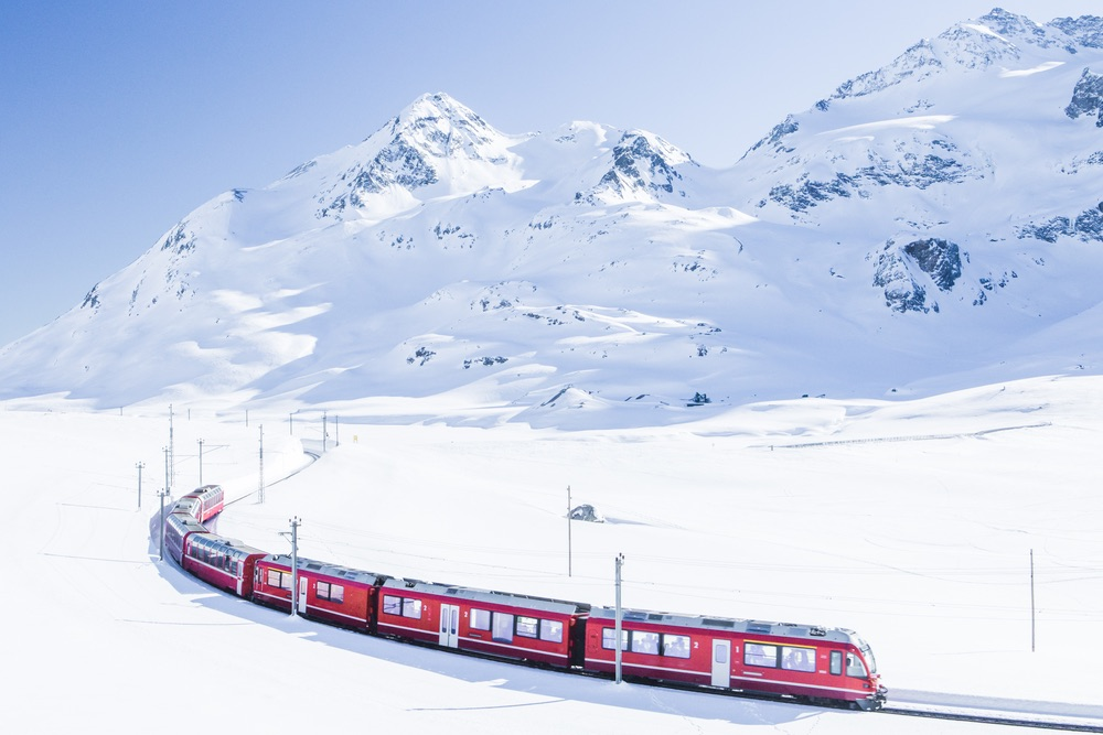 Bernina Express in Winter, Swiss, Europe