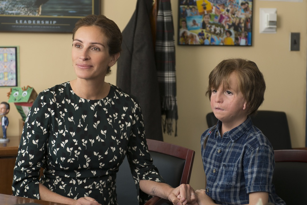 "Julia Roberts as ""Isabel"" and Jacob Tremblay as ""Auggie"" in WONDER."
