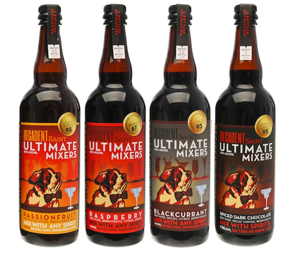 The bottles of decadent saint ultimate mixers.