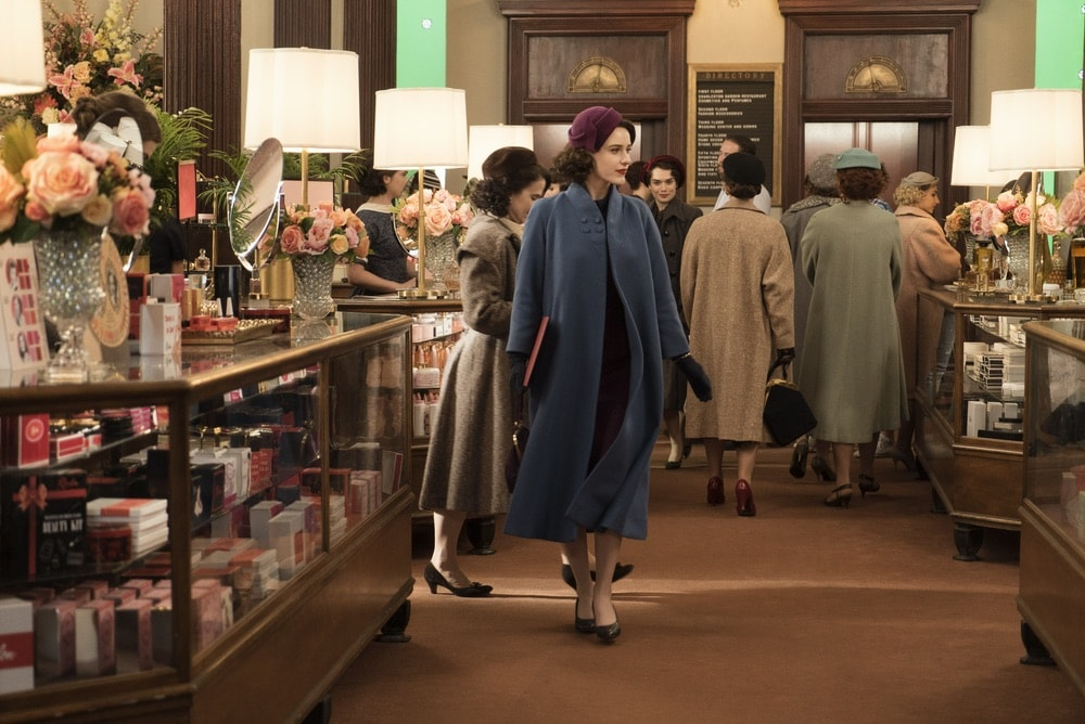 Rachel Brosnahan in Season 1 of The Marvelous Mrs. Maisel at her job