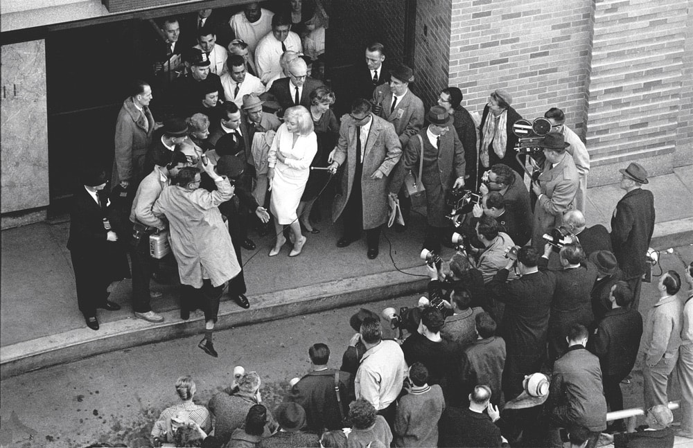 Marilyn Monroe leaving Columbia Presbyterian Hospital in Manhattan in 1961