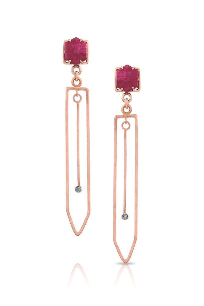 Fabia Ruby, Sapphire, and 14-Karat Rose Gold Earrings