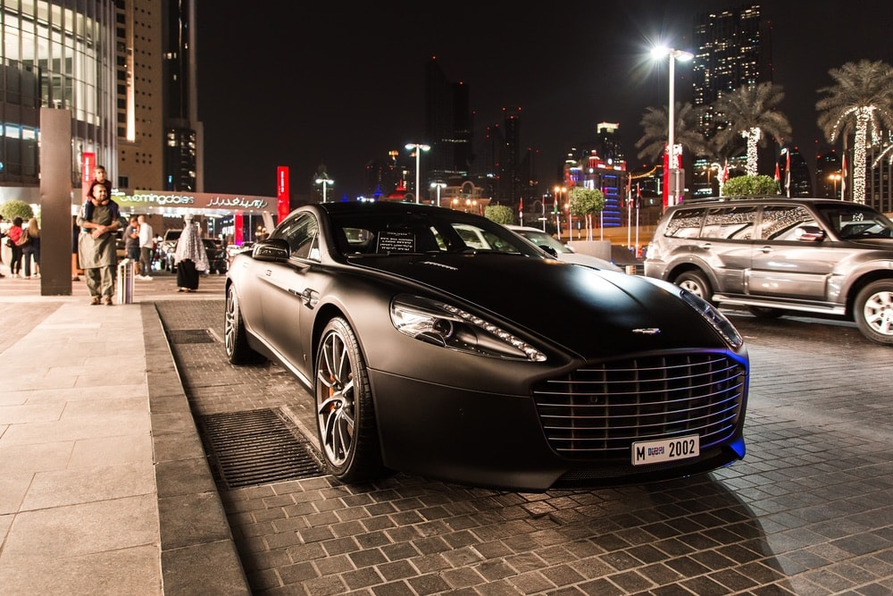 Aston Martin supercar in the parking lot