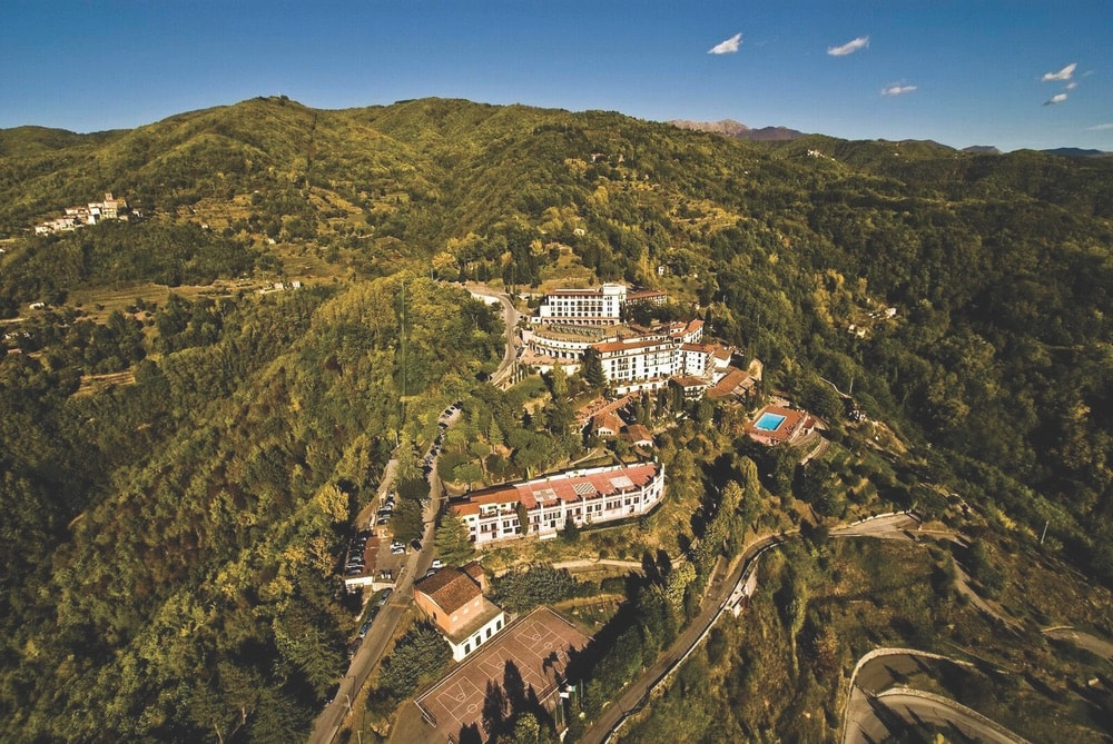 Drone view of a resort, Renaissance Tuscany